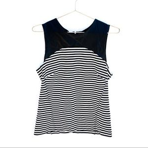 Banana Republic Black Striped Faux Leather Top